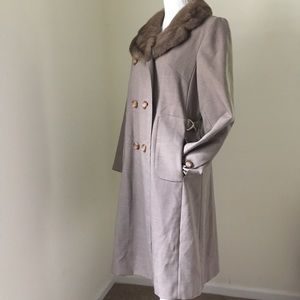 Vintage Holy Poplin wool Blend Peacoat Fur collar